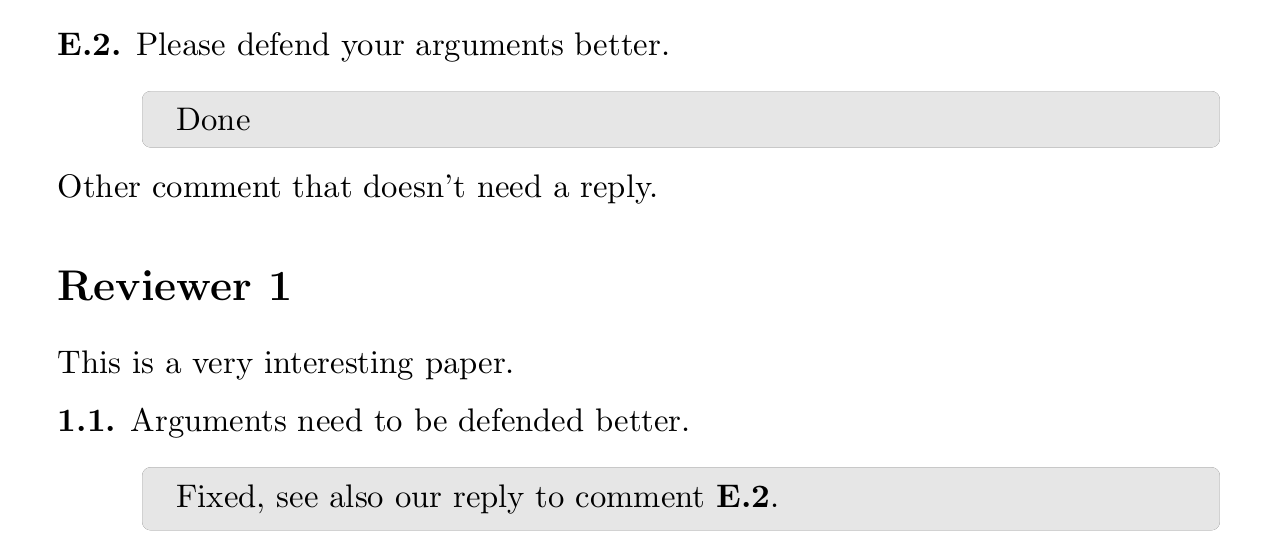 A screenshot of the reply letter template used to address and organize reviewer comments.